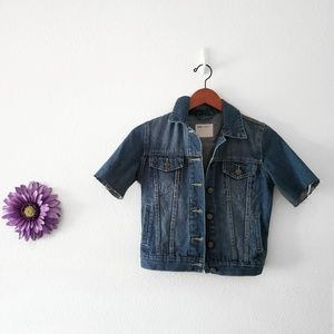 ASOS Denim Cropped Frayed Jacket Size US 00